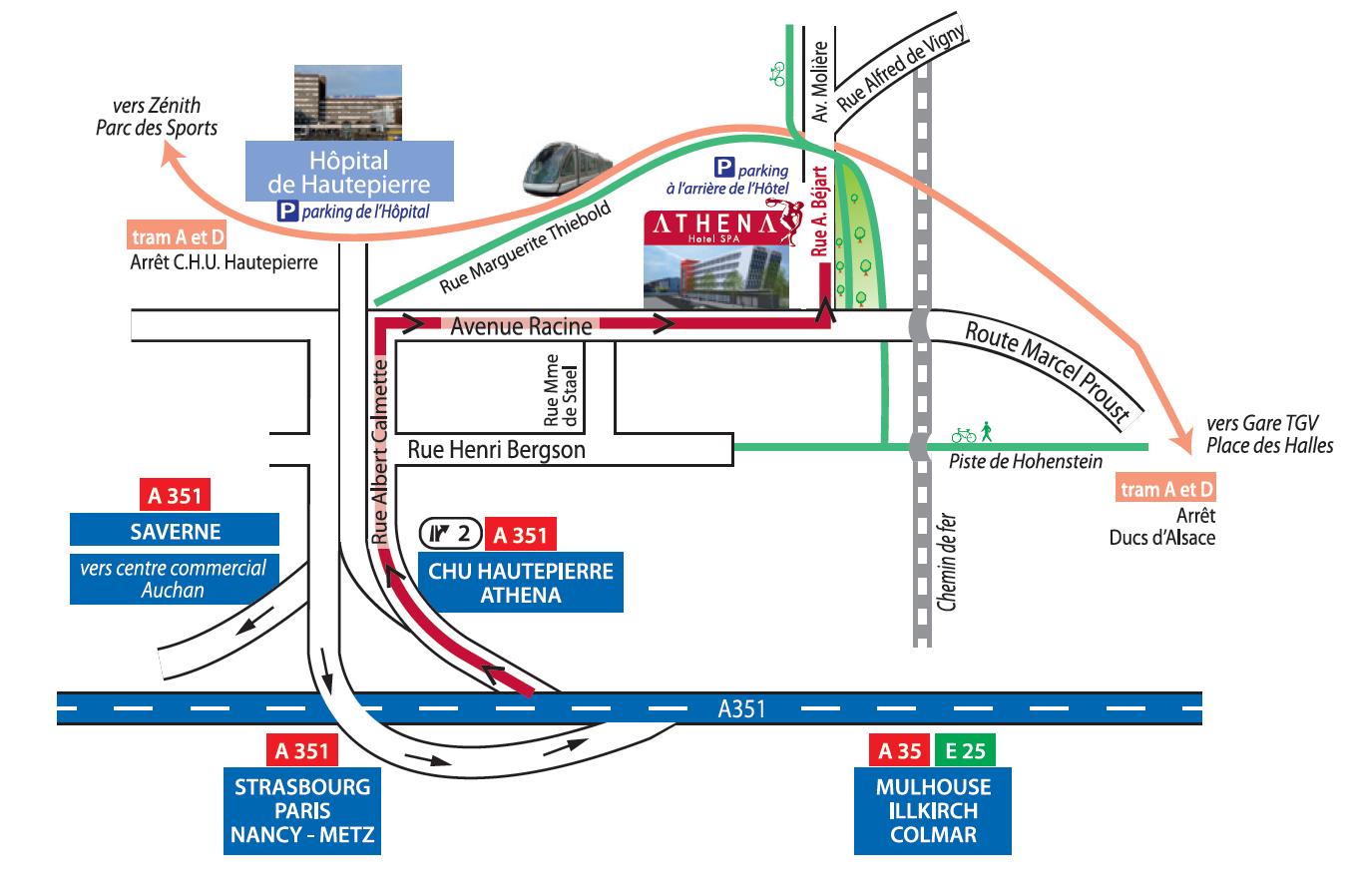 Plan d'accès hôtel spa restaurant Strasbourg Alsace